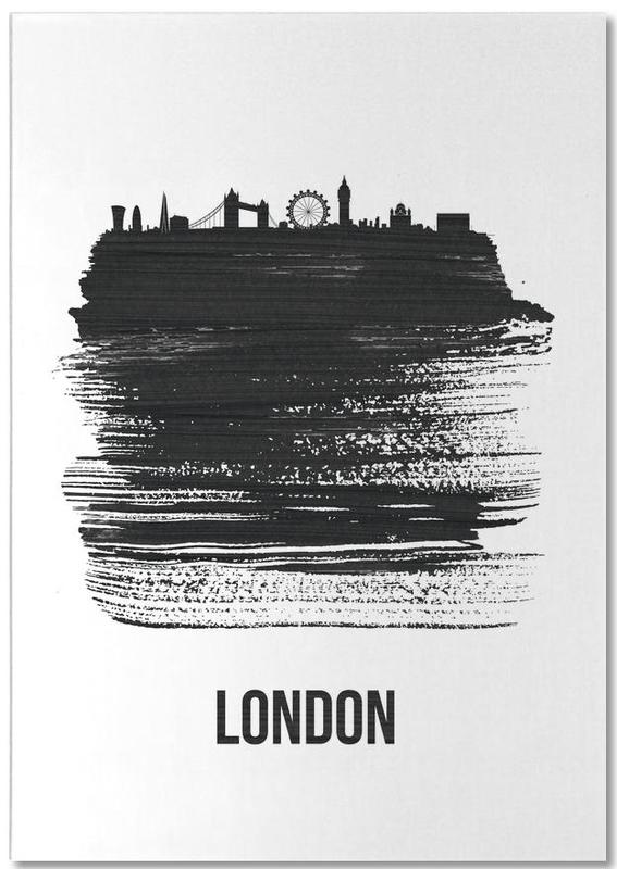 Black & White, London, Skylines, London Skyline Brush Stroke Notepad