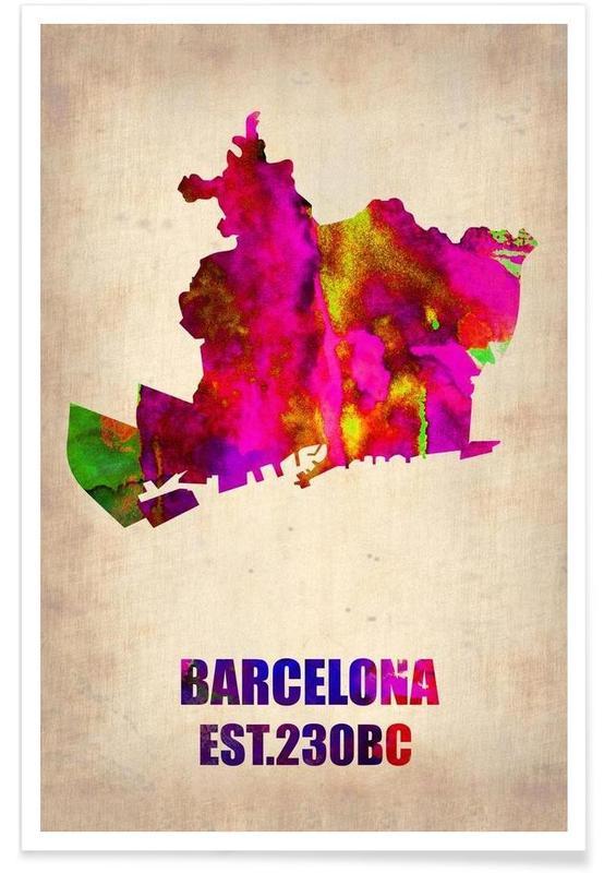 Cartes de villes, Barcelone, Barcelone - Carte en aquarelle affiche