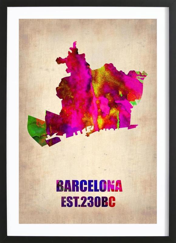 Barcelona Watercolor Map -Bild mit Holzrahmen