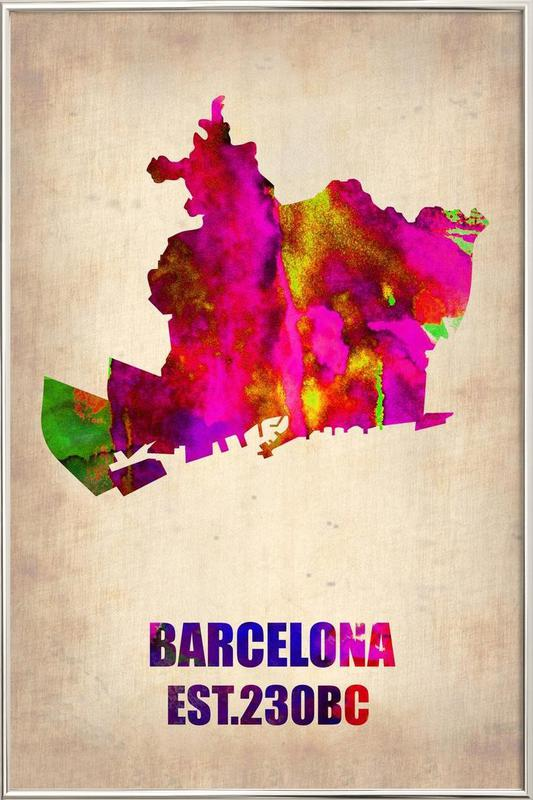 Barcelona Watercolor Map Poster in Aluminium Frame