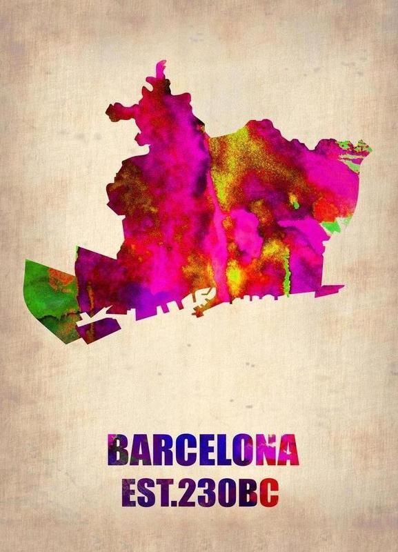 Barcelona Watercolor Map -Leinwandbild