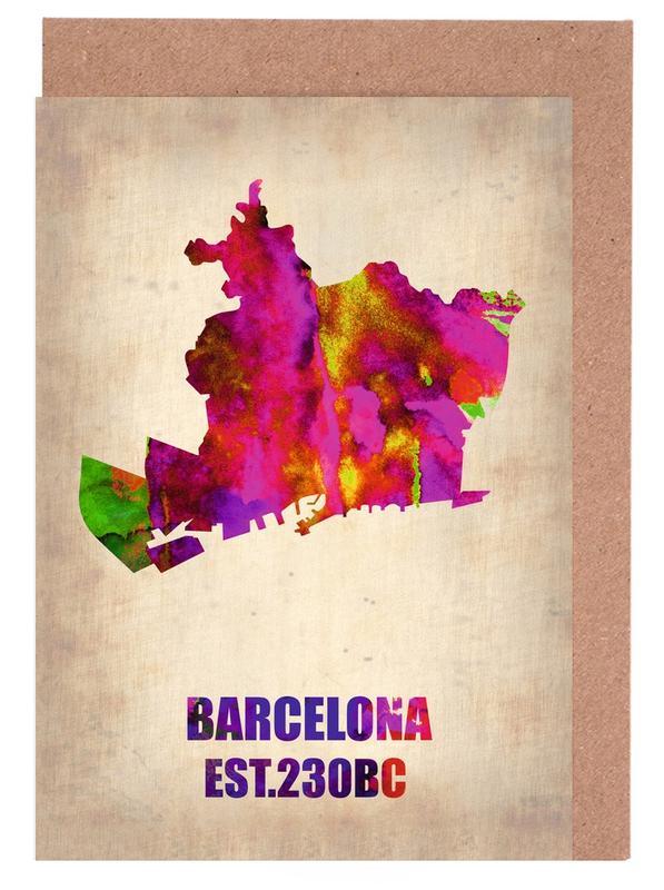 Barcelona Watercolor Map -Grußkarten-Set