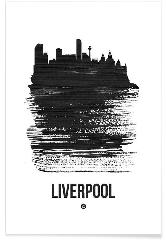 Schwarz & Weiß, Skylines, Liverpool Skyline Brush Stroke -Poster