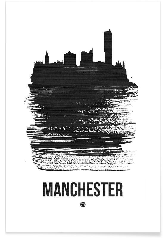 Zwart en wit, Skylines, Manchester Skyline Brush Stroke poster