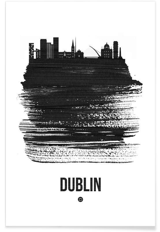 Dublin, Noir & blanc, Skylines, Dublin Skyline Brush Stroke affiche
