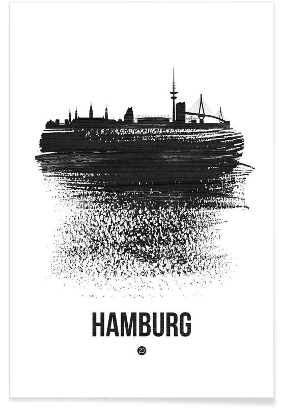 Noir & blanc, Hambourg, Skylines, Hamburg Skyline Brush Stroke affiche