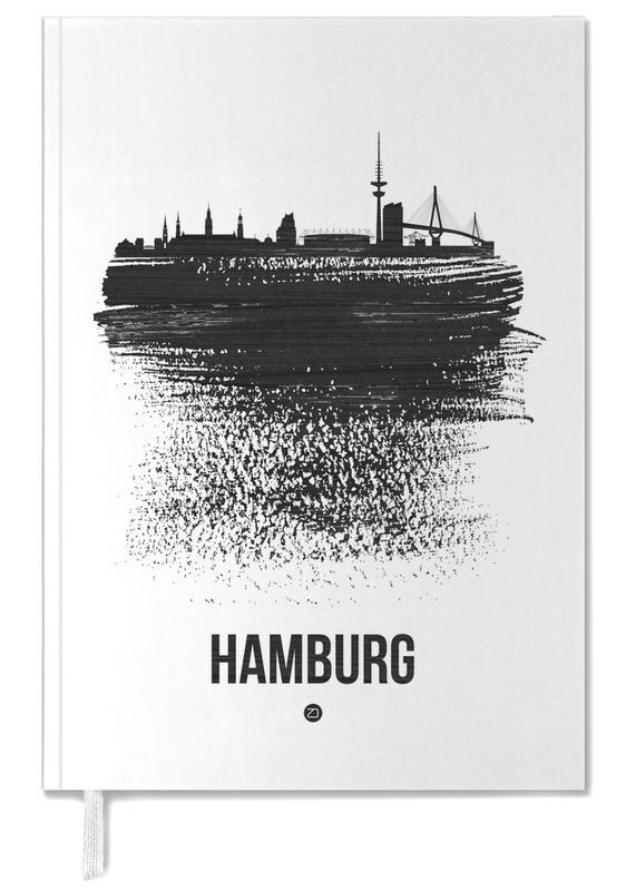 Hamburg, Skylines, Black & White, Hamburg Skyline Brush Stroke Personal Planner