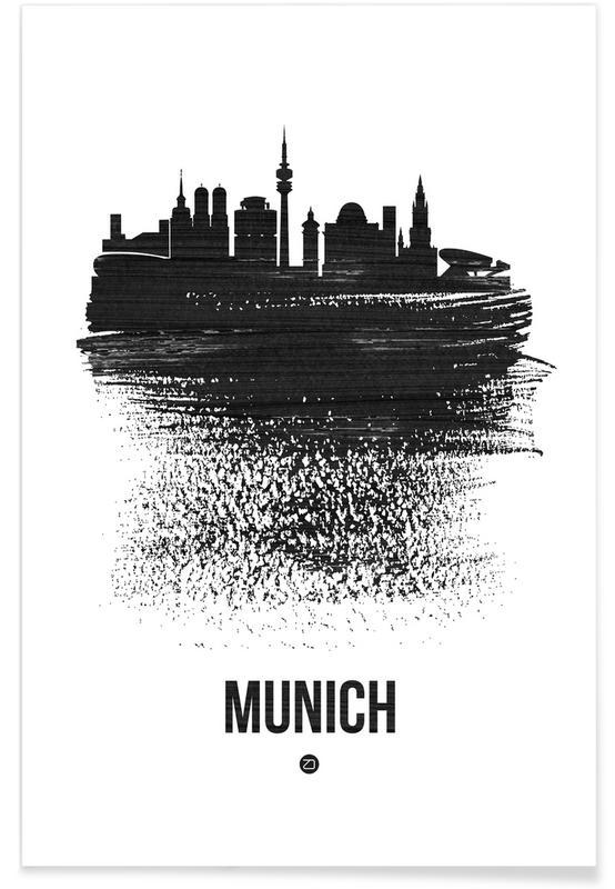 Munich, Noir & blanc, Skylines, Munich Skyline Brush Stroke affiche