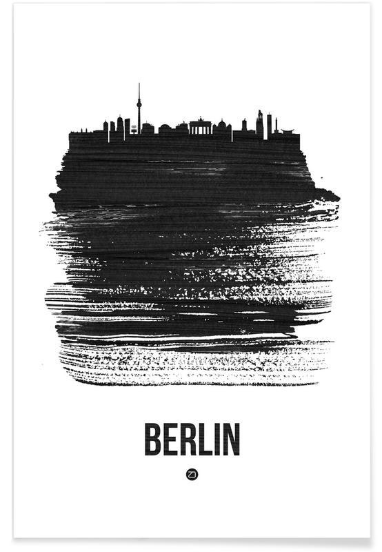 Skylines, Zwart en wit, Berlijn, Berlin Skyline Brush Stroke poster
