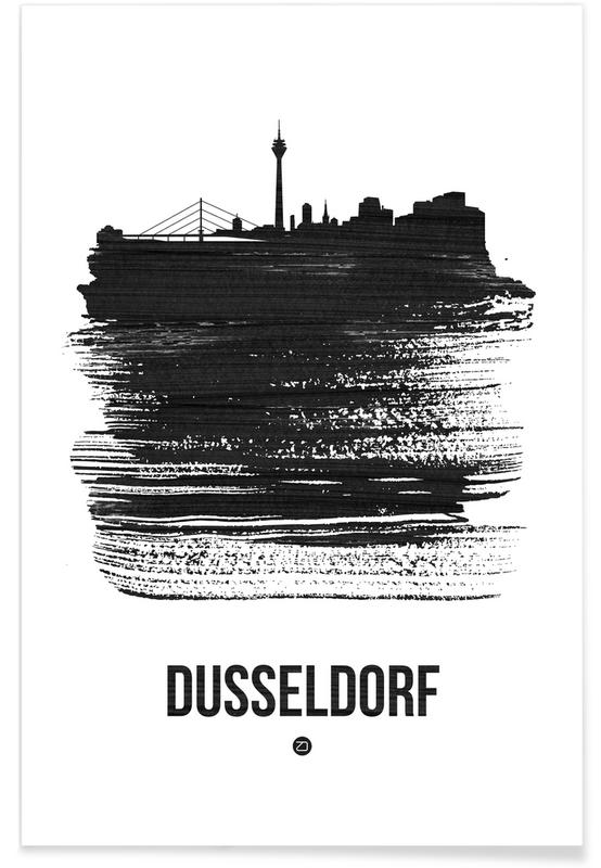 Zwart en wit, Skylines, Dusseldorf Skyline Brush Stroke poster
