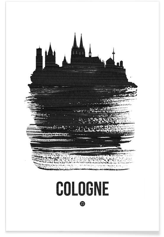 Zwart en wit, Skylines, Cologne Skyline Brush Stroke poster