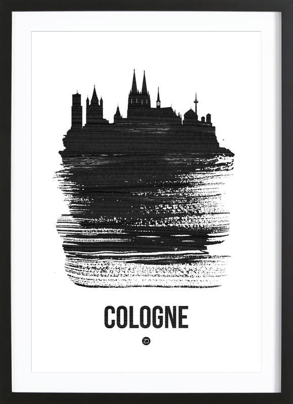 Cologne Skyline Brush Stroke Framed Print