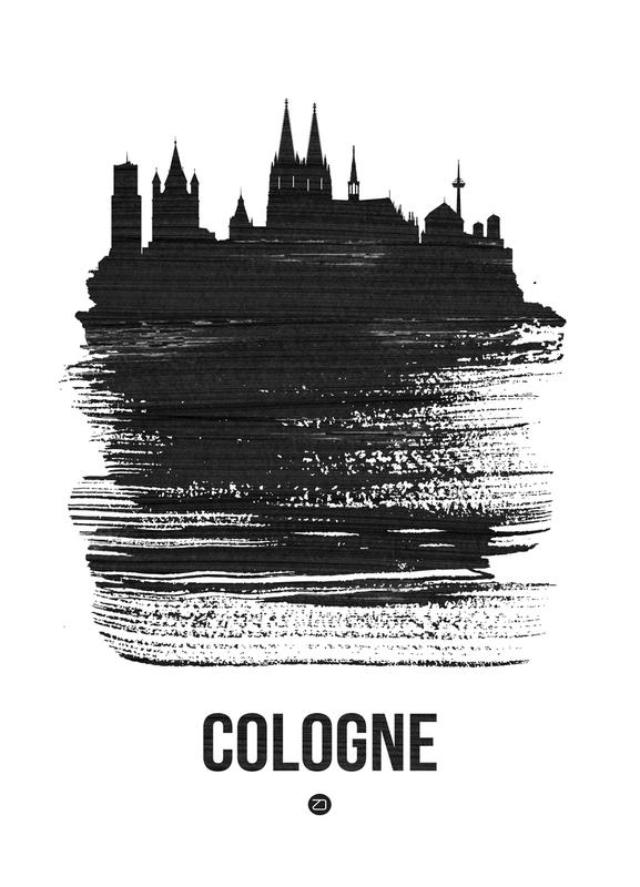 Cologne Skyline Brush Stroke -Leinwandbild