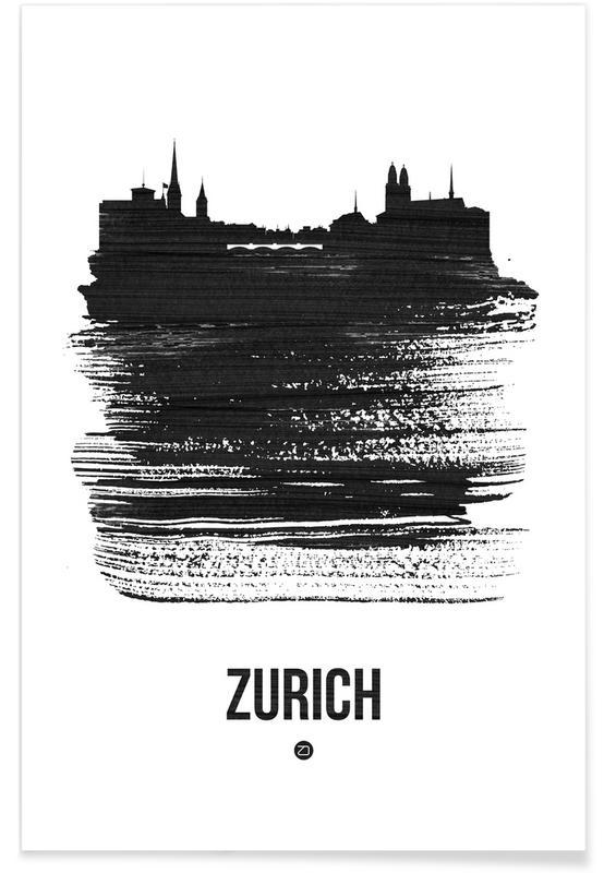 Skylines, Zurich, Black & White, Zurich Skyline Brush Stroke Poster