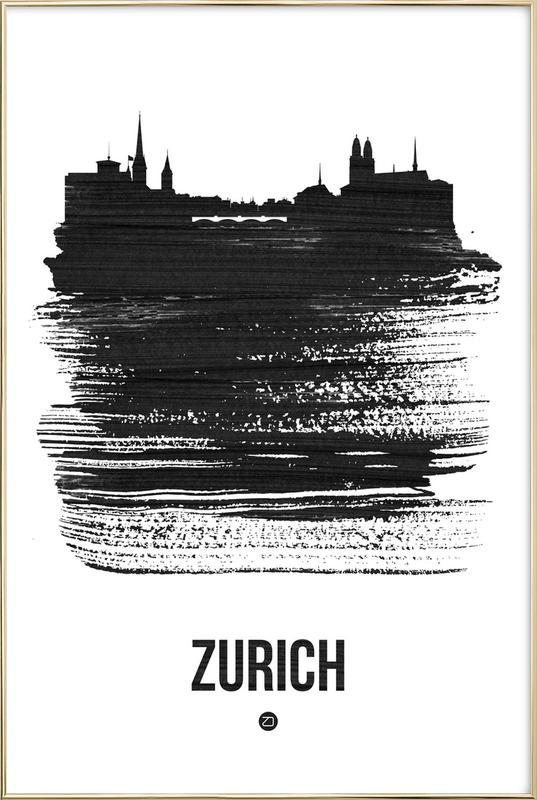 Zurich Skyline Brush Stroke -Poster im Alurahmen