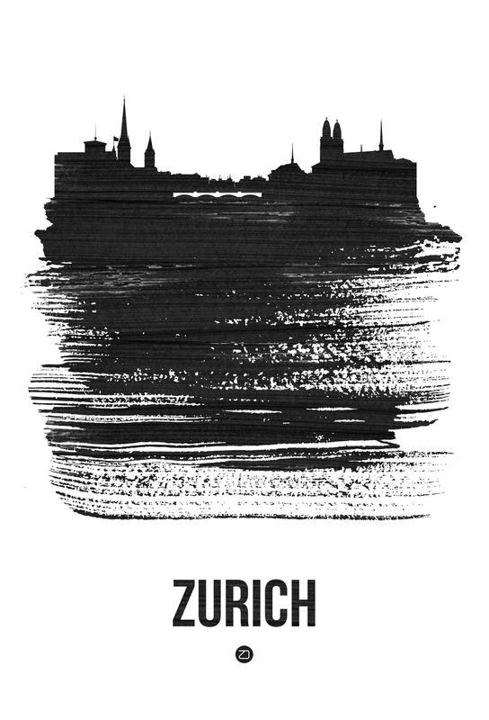 Zurich Skyline Brush Stroke Aluminium Print