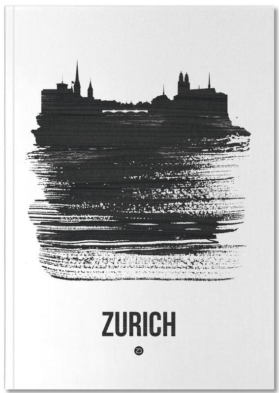 Zurich Skyline Brush Stroke Notebook