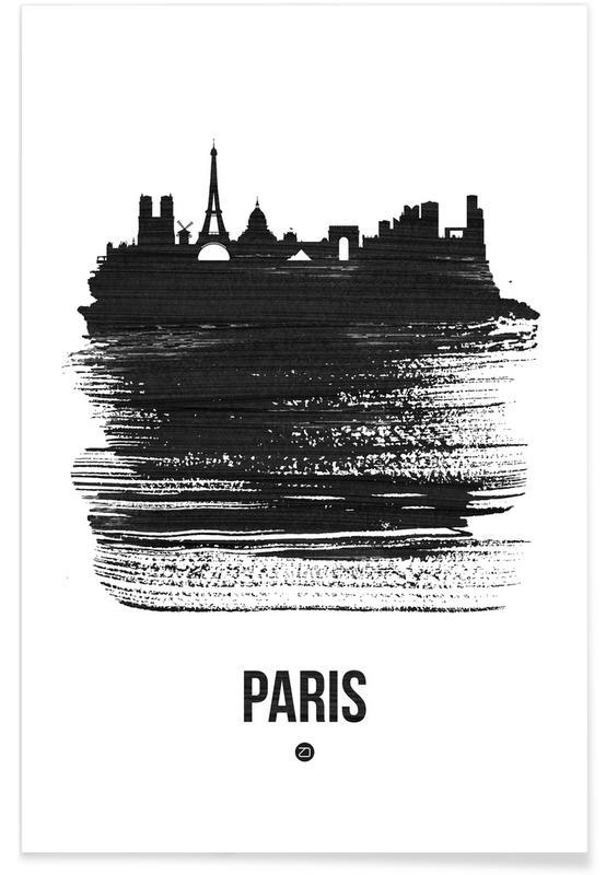 Skylines, Parijs, Zwart en wit, Paris Skyline Brush Stroke poster