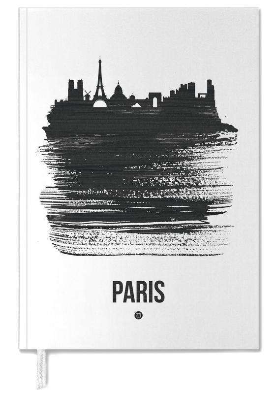 Paris, Skylines, Black & White, Paris Skyline Brush Stroke Personal Planner