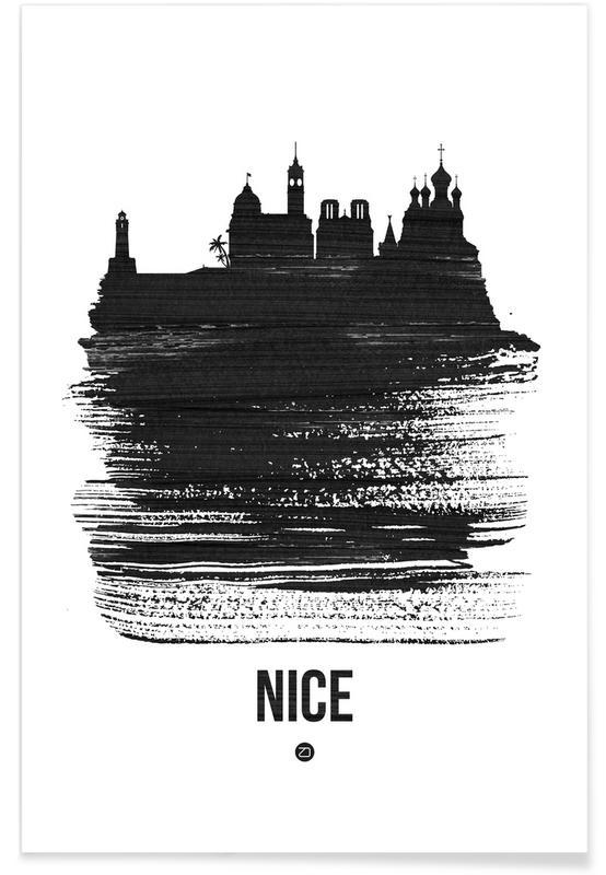 Zwart en wit, Skylines, Nice Skyline Brush Stroke poster