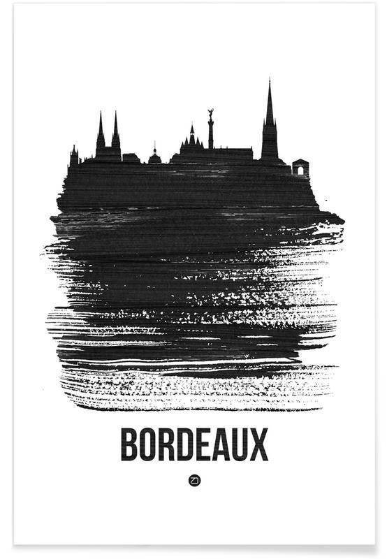 Zwart en wit, Skylines, Bordeaux Skyline Brush Stroke poster