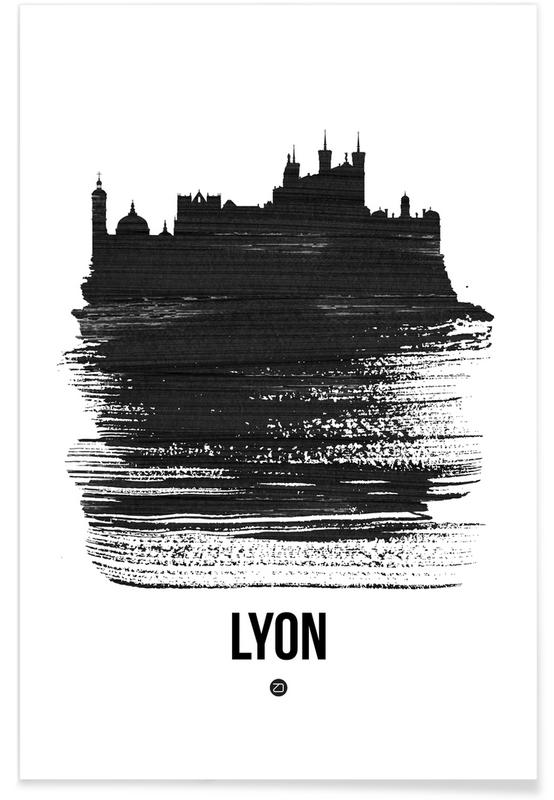 Zwart en wit, Skylines, Lyon Skyline Brush Stroke poster