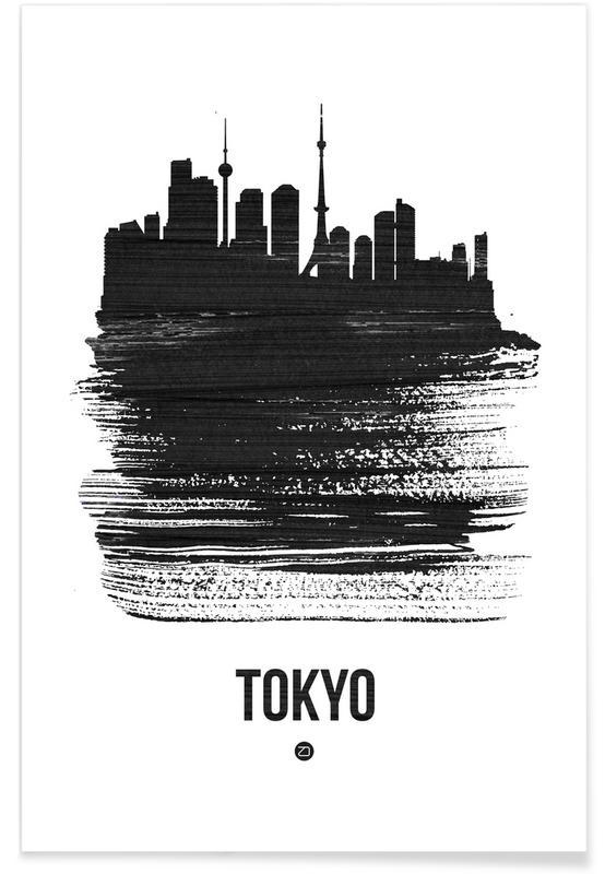 Tokio, Schwarz & Weiß, Skylines, Tokyo Skyline Brush Stroke -Poster