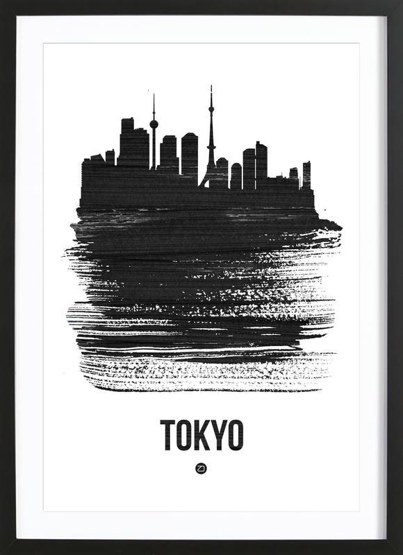 Tokyo Skyline Brush Stroke ingelijste print