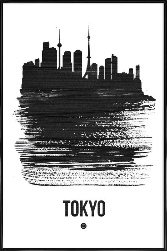 Tokyo Skyline Brush Stroke -Bild mit Kunststoffrahmen
