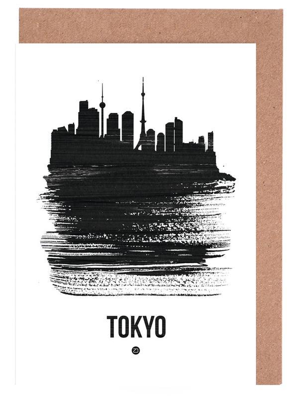 Skylines, Noir & blanc, Tokyo, Tokyo Skyline Brush Stroke cartes de vœux