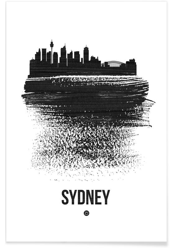 Sydney Skyline Brush Stroke Poster