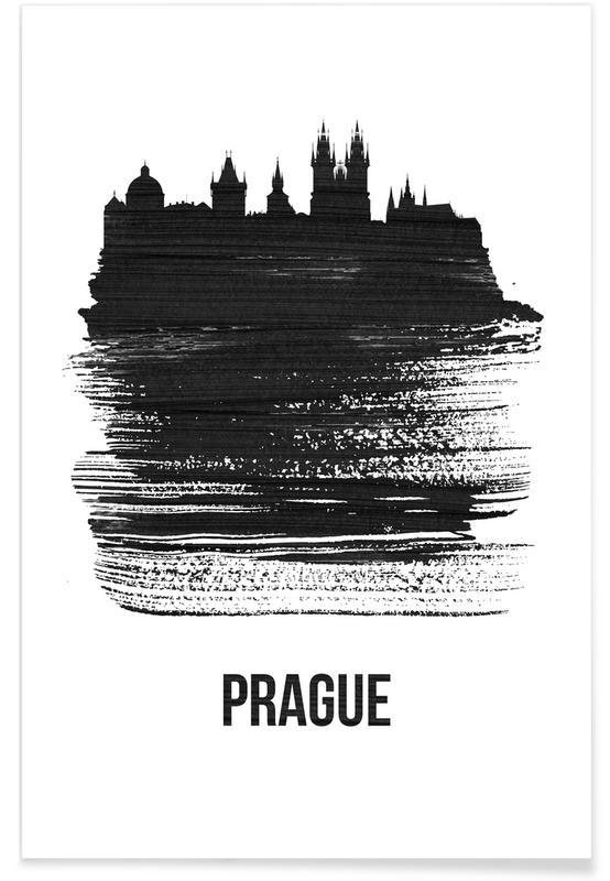 Noir & blanc, Skylines, Prague Skyline Brush Stroke affiche