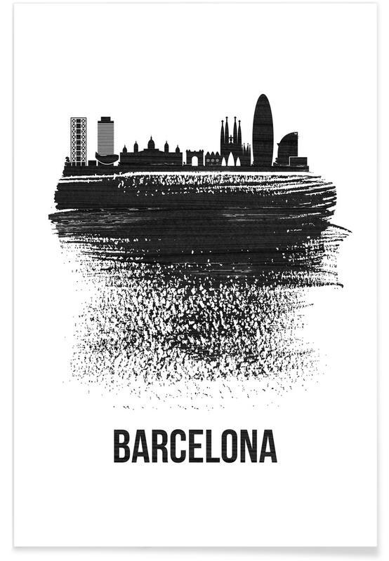 Noir & blanc, Barcelone, Skylines, Barcelona Skyline Brush Stroke affiche