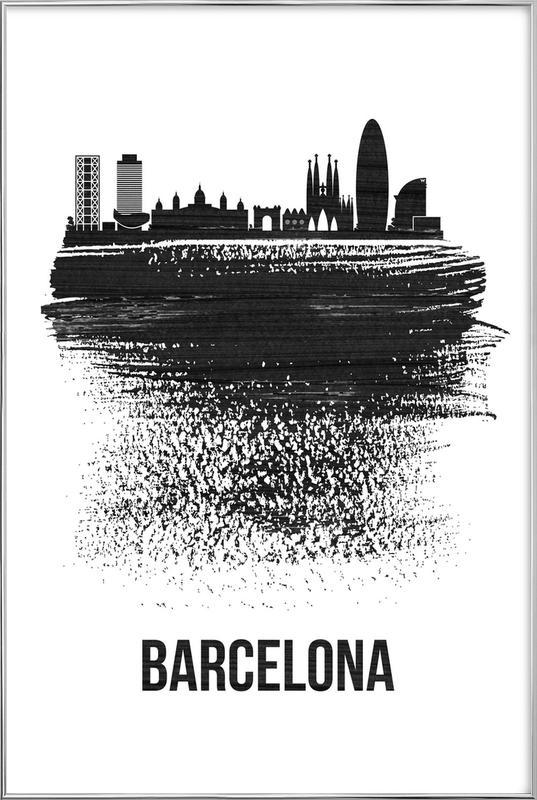 Barcelona Skyline Brush Stroke Poster in Aluminium Frame