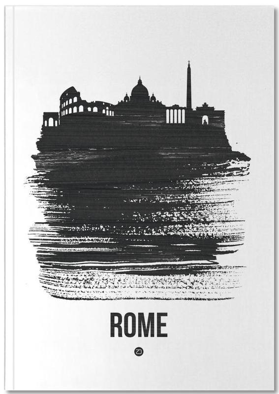 Skylines, Noir & blanc, Rome, Rome Skyline Brush Stroke Notebook