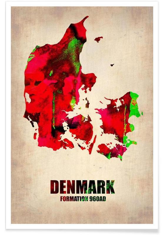Cartes de pays, Danemark - Carte en aquarelle affiche