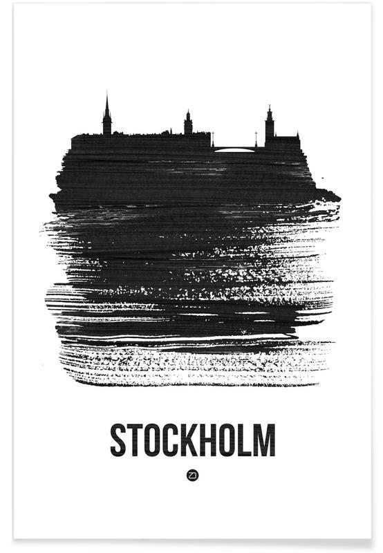 Skylines, Stockholm, Black & White, Stockholm Skyline Brush Stroke Poster