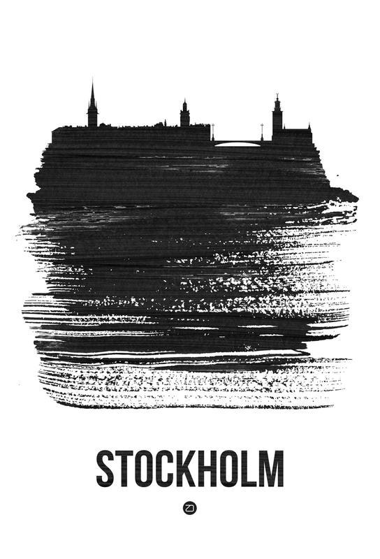 Stockholm Skyline Brush Stroke -Acrylglasbild