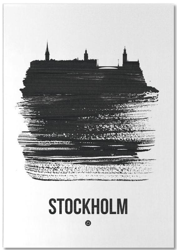 Stockholm, Skylines, Noir & blanc, Stockholm Skyline Brush Stroke bloc-notes