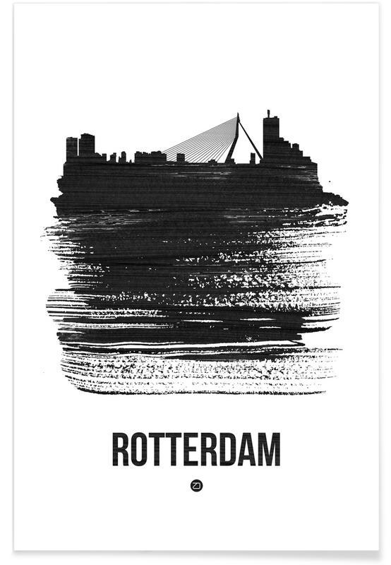 Rotterdam, Noir & blanc, Skylines, Rotterdam Skyline Brush Stroke affiche