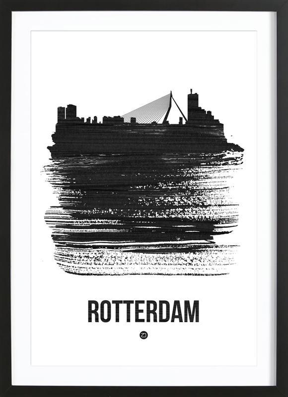 Rotterdam Skyline Brush Stroke Framed Print