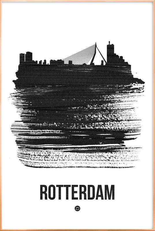 Rotterdam Skyline Brush Stroke Poster in Aluminium Frame