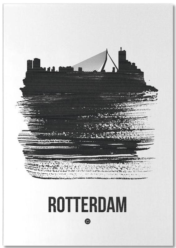 Skylines, Noir & blanc, Rotterdam, Rotterdam Skyline Brush Stroke bloc-notes