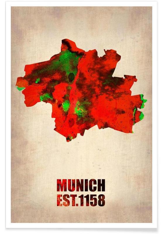 Munich, Cartes de villes, Munich - Carte en aquarelle affiche
