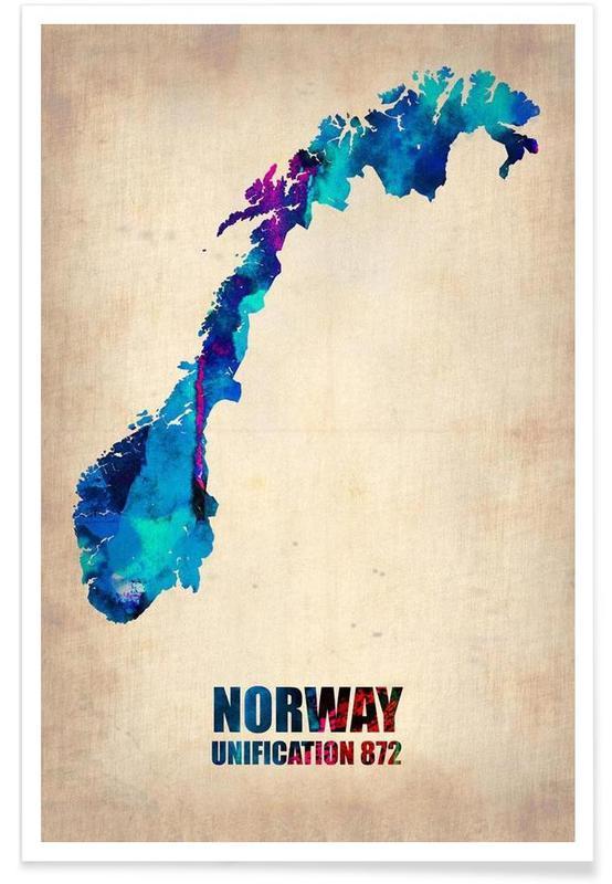Norvège - Carte en aquarelle affiche