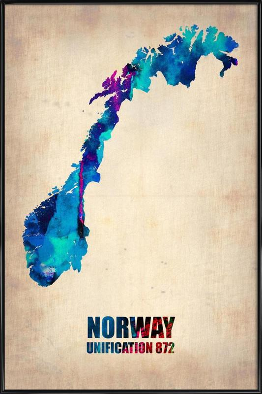 Norway Watercolor Map Framed Poster