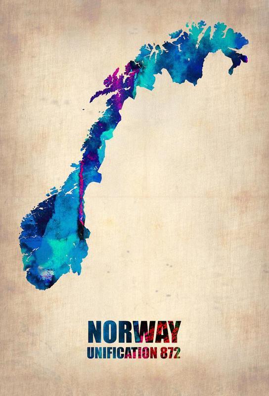 Norway Watercolor Map Aluminium Print