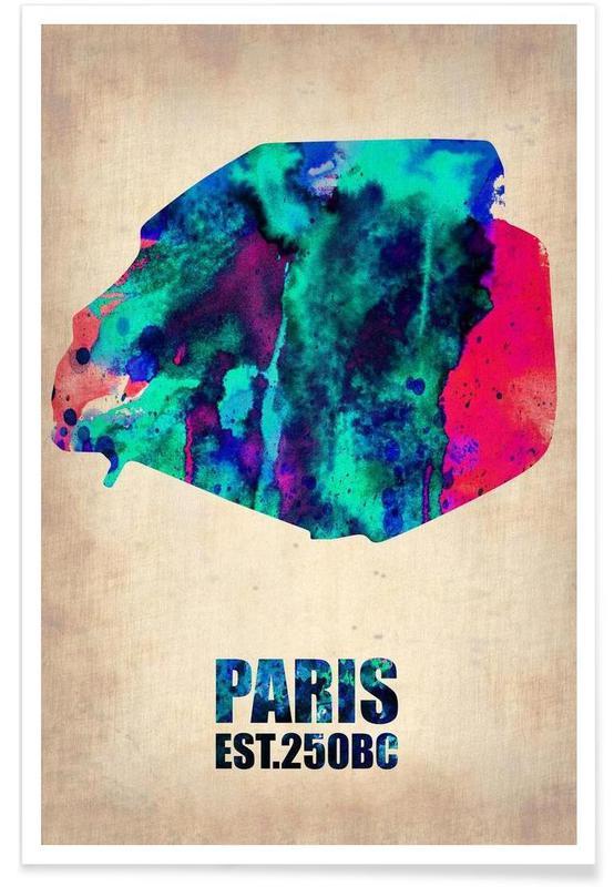 Paris - Carte en aquarelle affiche