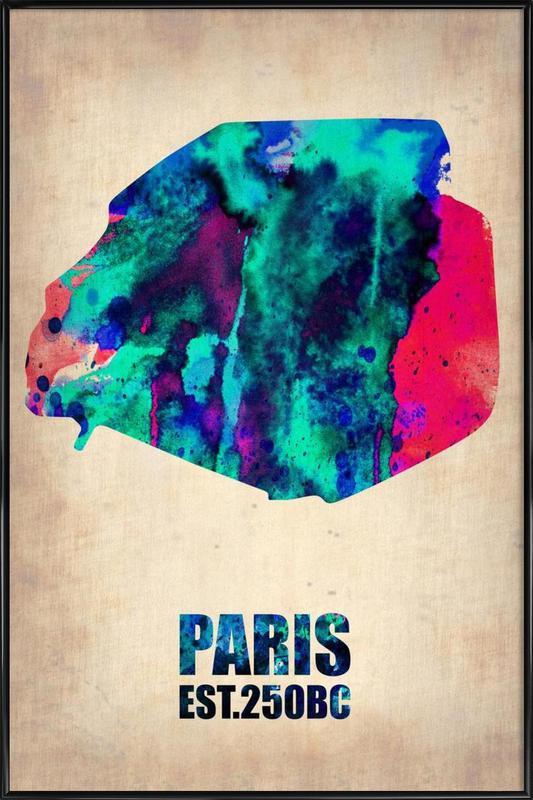 Paris Watercolor Map Framed Poster
