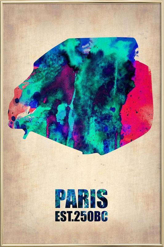 Paris Watercolor Map Poster in Aluminium Frame